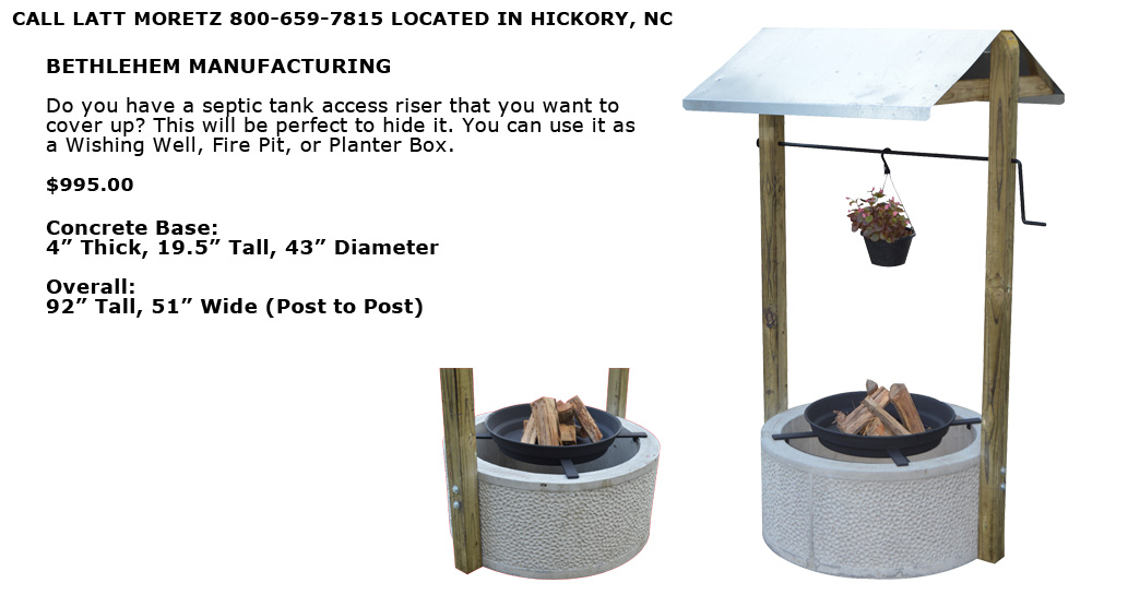 Wishing Well, Planter Box, Fire Pit